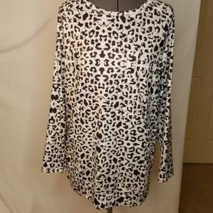 Leopard Print Blouse with Pockets